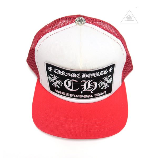 Chrome Hearts Hollywood Patch Mesh Trucker Cap - Red/White