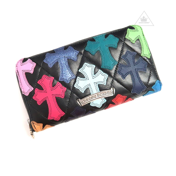 Chrome Hearts Multicolored Cross Patch Clutch Wallet