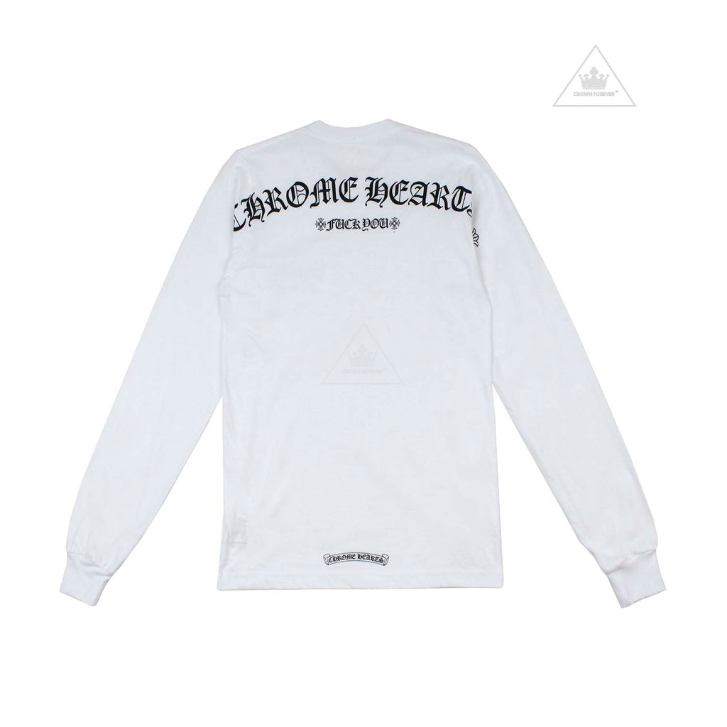 Chrome Hearts Script Letter +FU+ Long Sleeve T Shirt White
