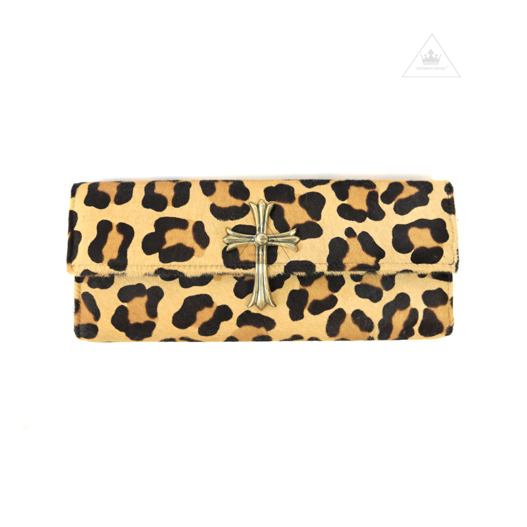 CH Cross Band Leopard Leather Clutch