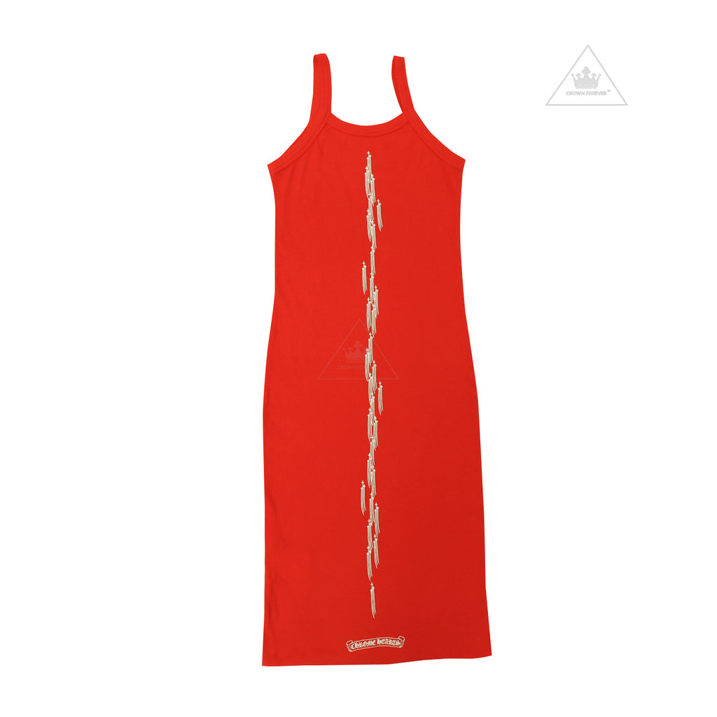 Chrome Hearts Bella Hadid Long Tanktop Dress in Red