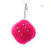 Chrome Hearts Fuzzy Dice Keyring Dark Pink