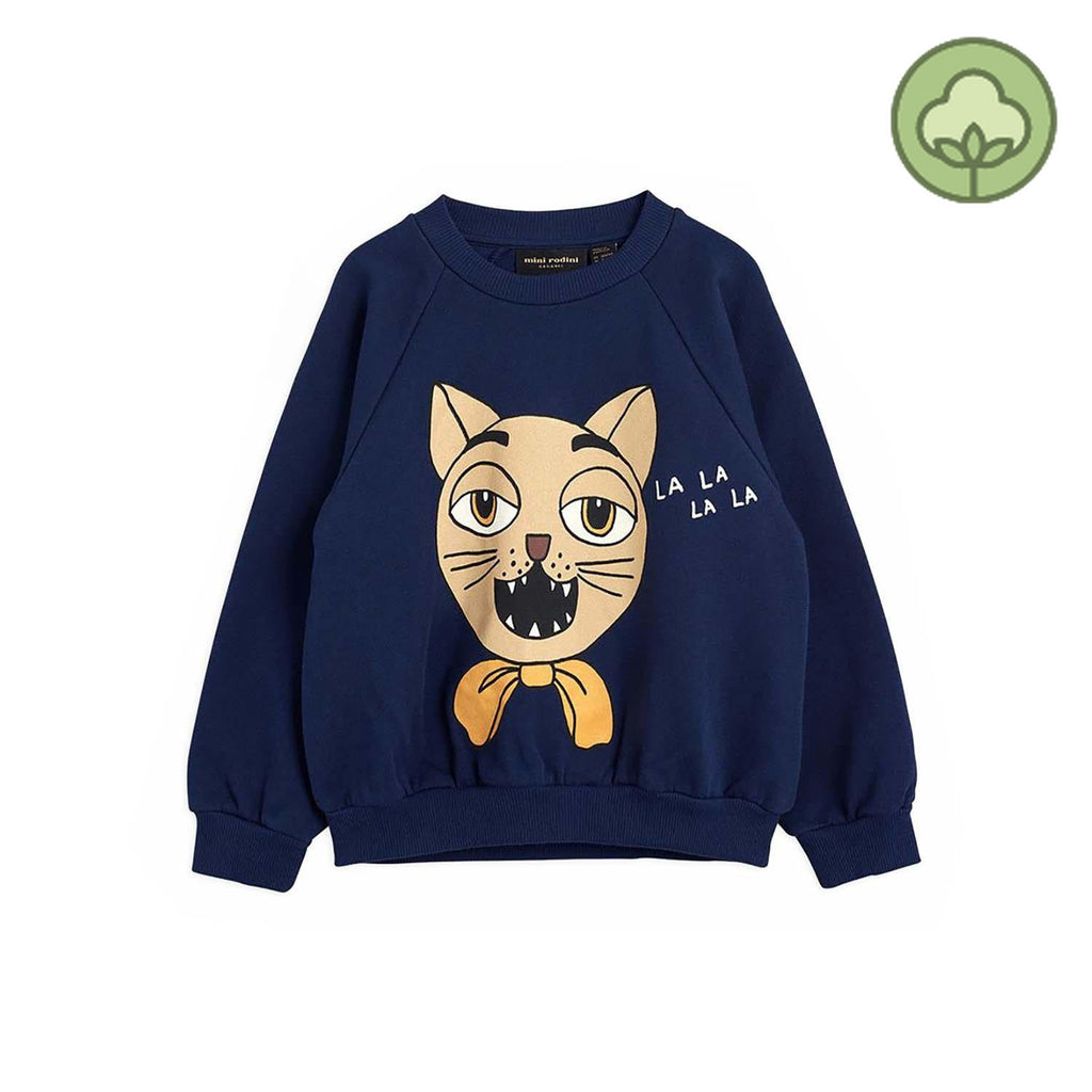 Mini Rodini Cat Choir SP Kids Sweatshirt Navy
