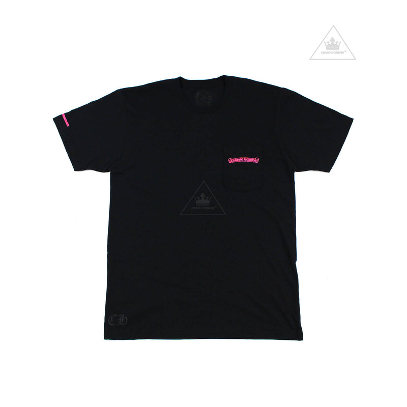 Chrome Hearts Neon Pink Script Short Sleeve T Shirt in Black