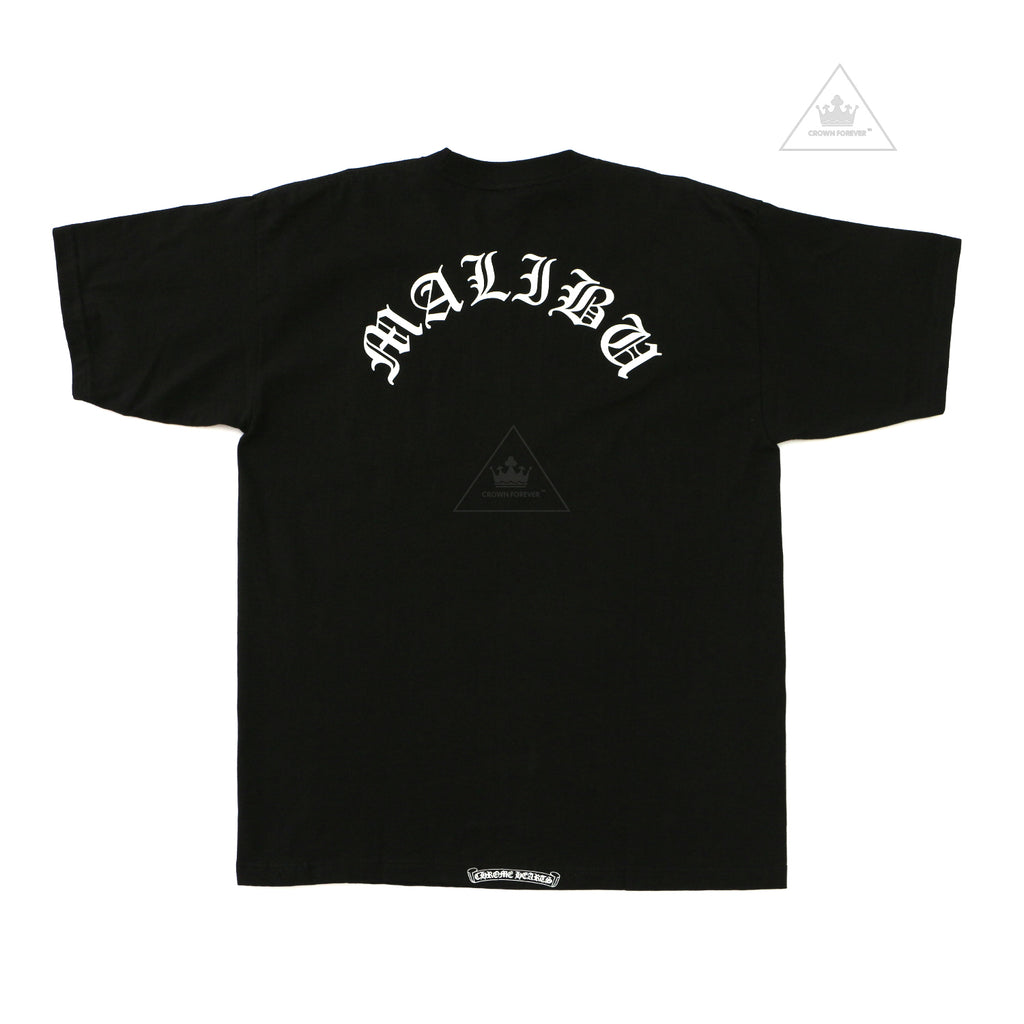 Chrome Hearts Limited Classic Malibu Script White Letter Black T Shirt