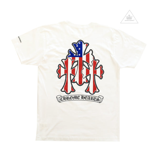 CH American Flag Cemetery Cross Short Sleeve White