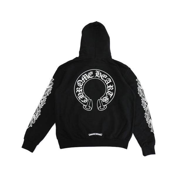 d09ef79a022 Chrome Hearts Horse Shoe Floral Cross Sleeve Pullover Hoodie