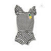 WEE MONSTER Black + White Stripe Romper (Pineapple Patch)