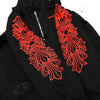 Chrome Hearts Red Floral Cross Sleeved Fleece Zippered Hoodie