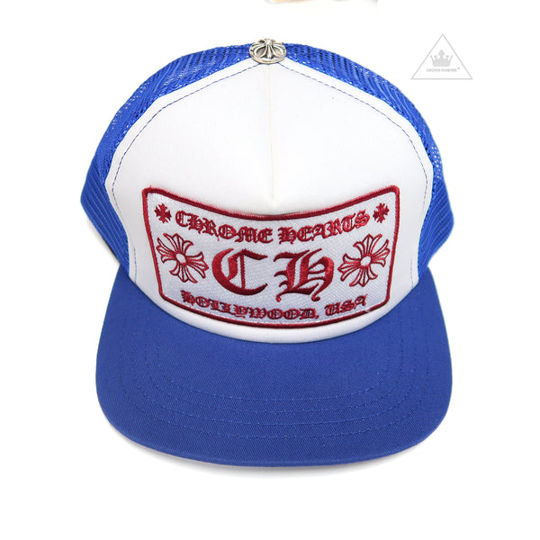 Chrome Hearts Hollywood Patch Mesh Trucker Cap - Blue/White