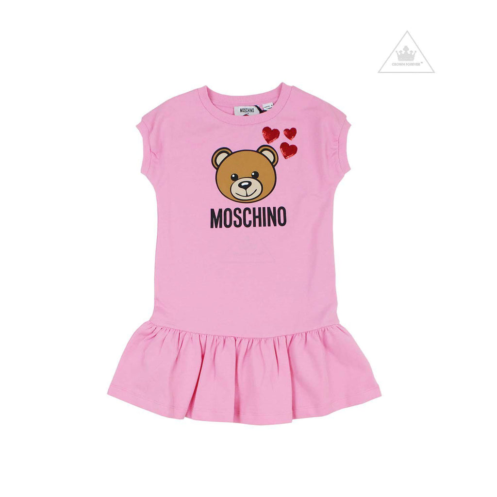 Moschino Kid Girls Dress With Heart Embroidery Detail Pink