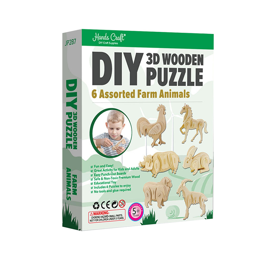 Hands Craft DIY 3D Wooden Puzzle 6 ct, Farm Animals-JP2B7
