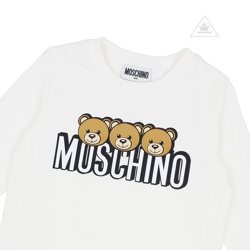 Moschino Kids Girls Long Sleeve T With Logo And Bear Graphics Cloud