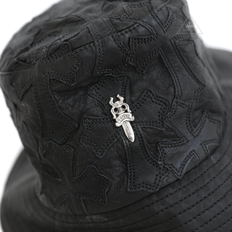 Chrome Hearts Cross Leather Patch Leather Bucket Hat