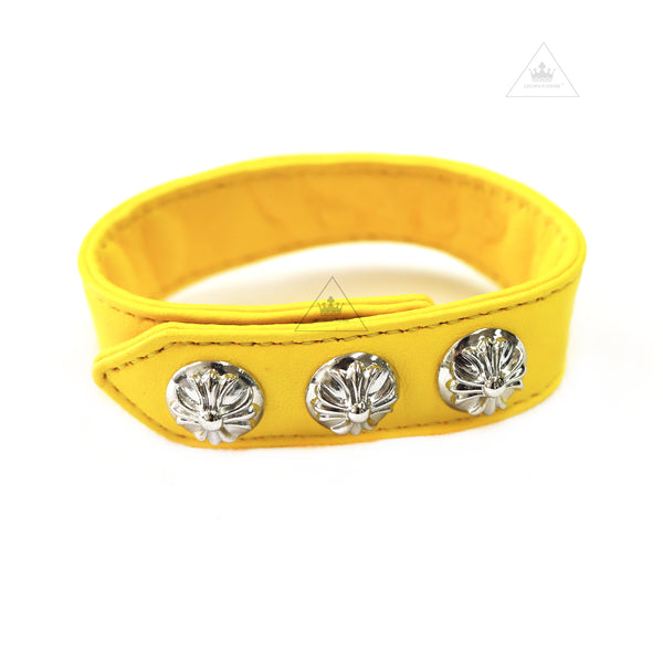 CH 3 Button Yellow Leather Bracelet