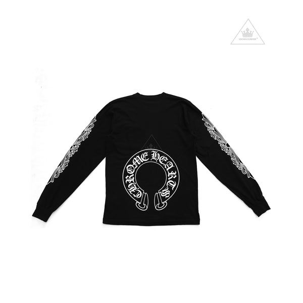 e312f240b91d Chrome Hearts Horseshoe Floral Cross Long Sleeve Tee Black
