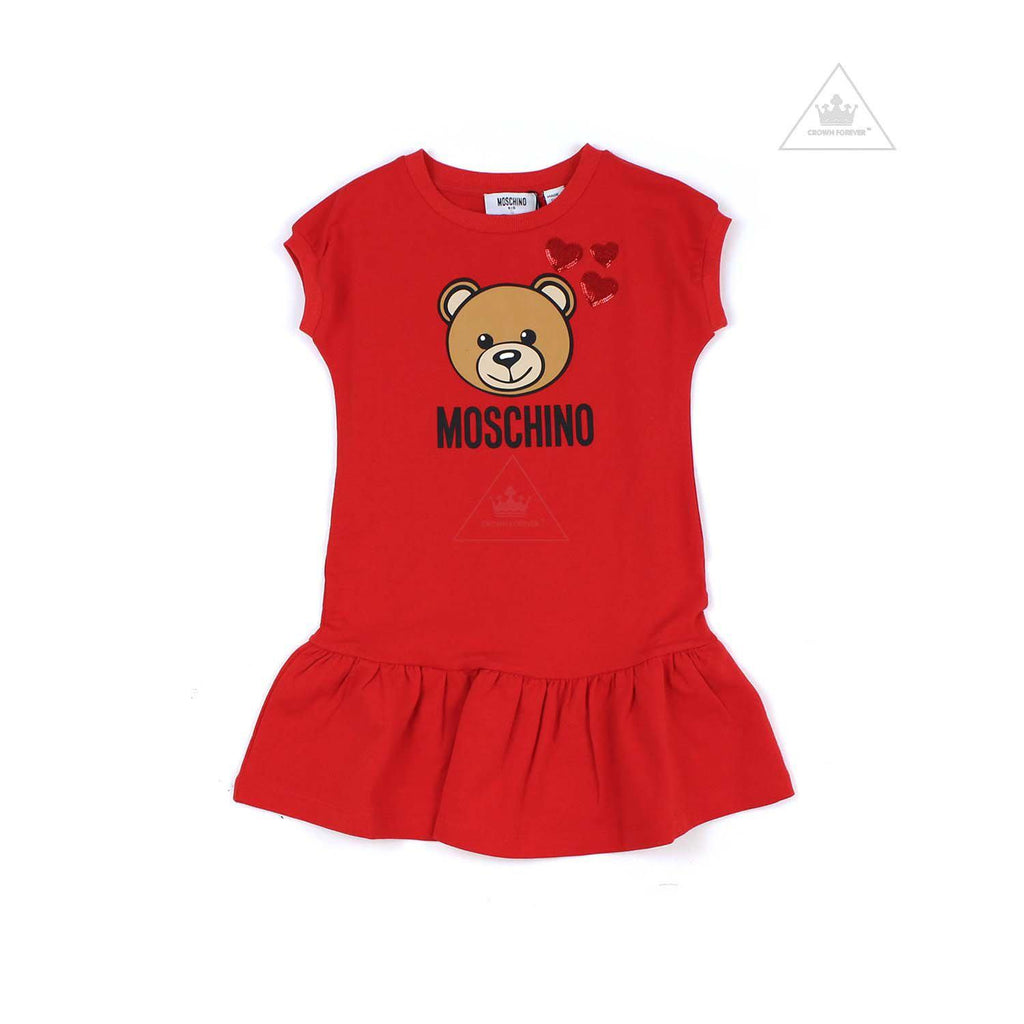 Moschino Kid Girls Dress With Heart Embroidery Detail Red