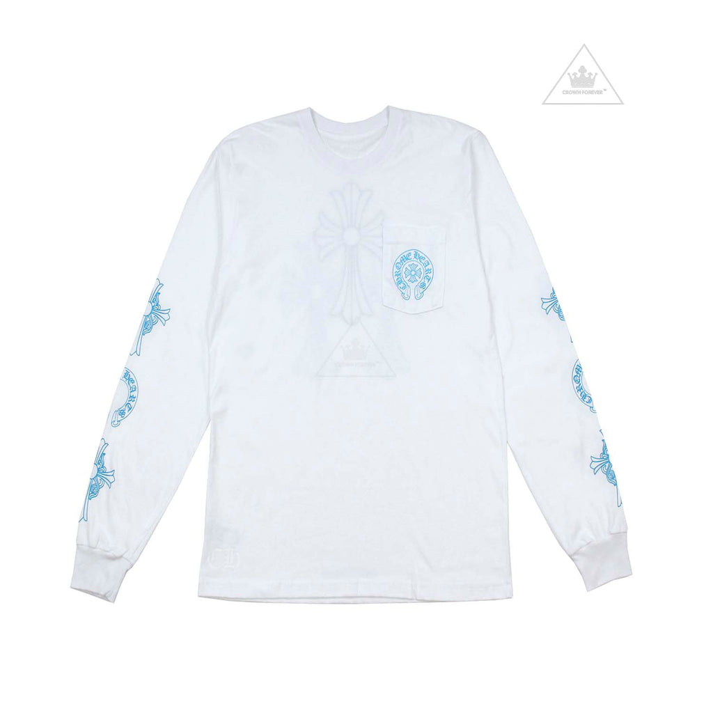 CH Baby Blue Cross Long Sleeve T Shirt White