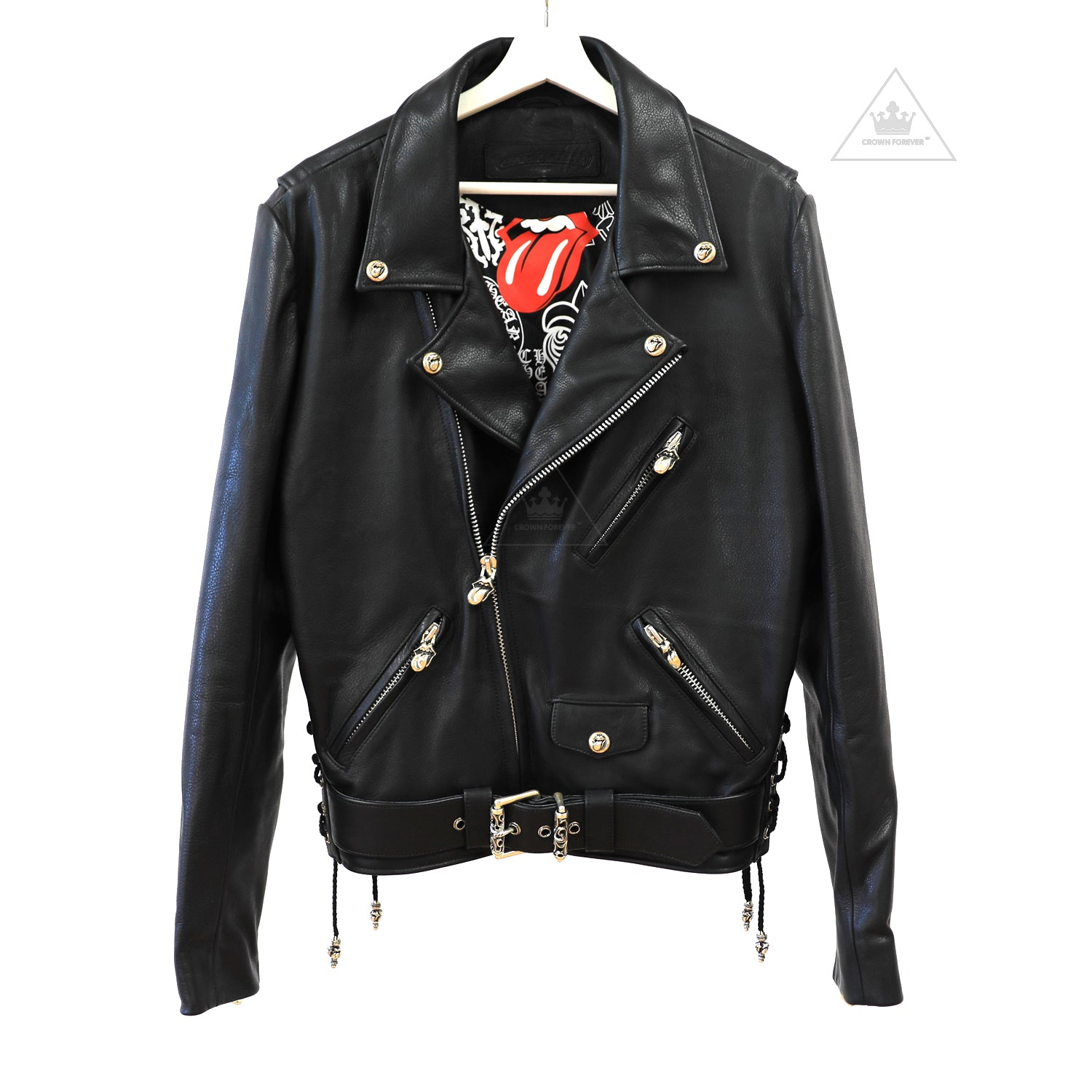 498a46deeeb Chrome Hearts Rolling Stones Lip and Tongue Biker Jacket – Crown ...