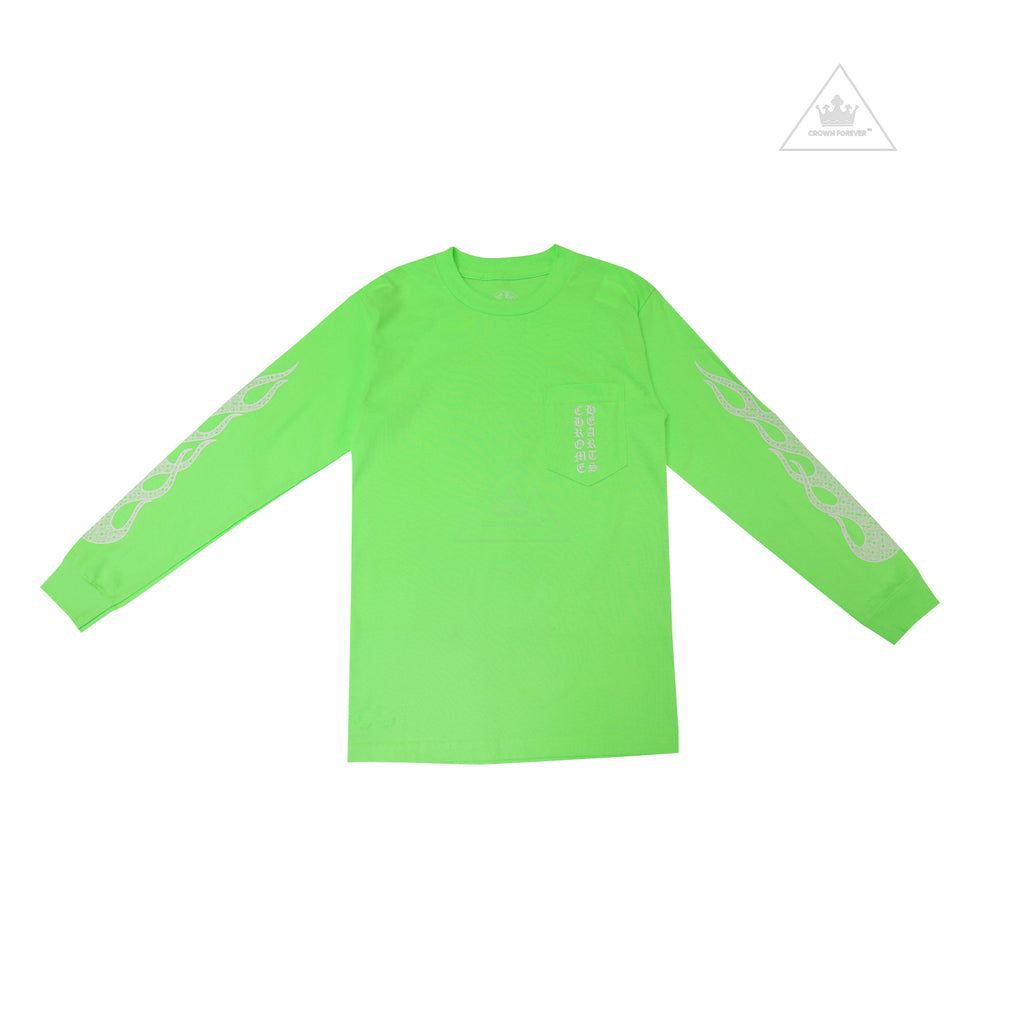 Chrome Hearts Flame Long Sleeve T Shirt in Neon