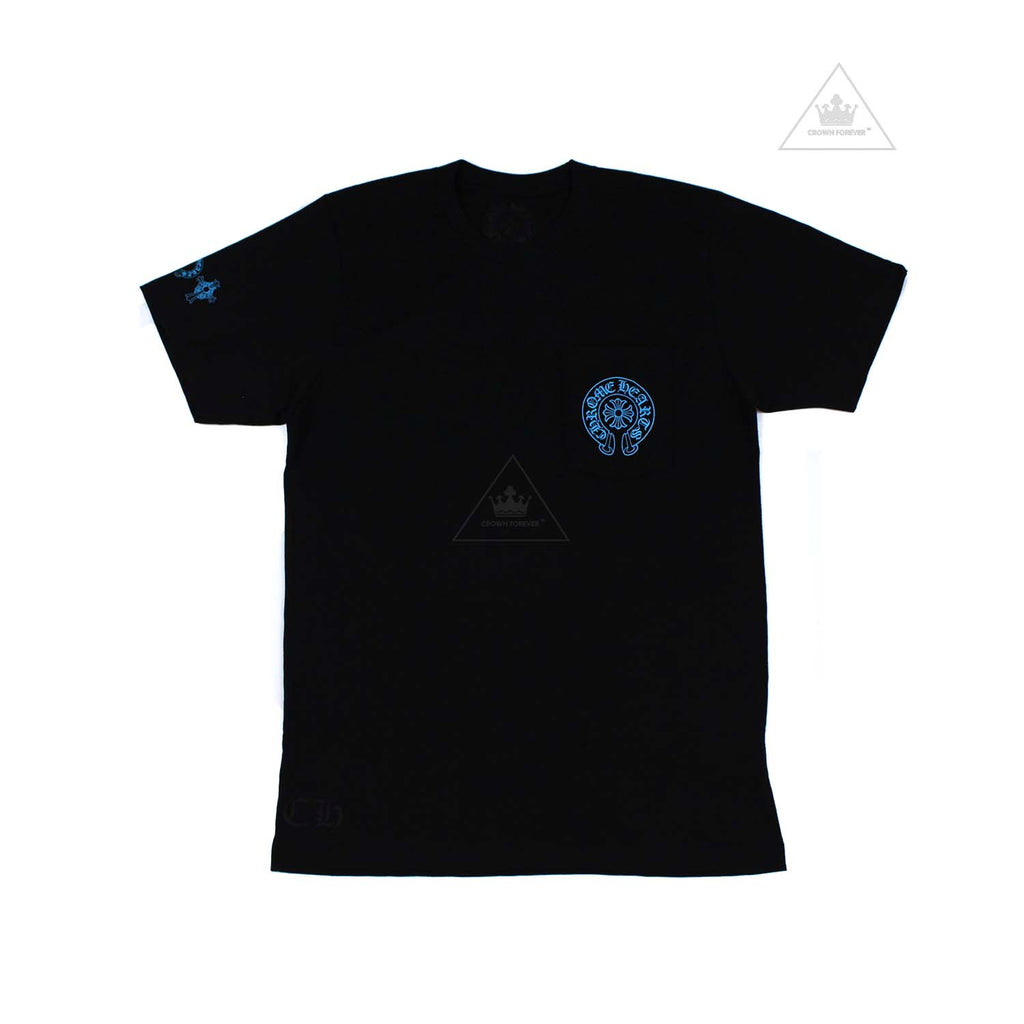 Chrome Hearts Baby Blue Cemetery Cross Short Sleeve T Shirt Black