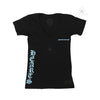 Chrome Hearts Women's V Neck Blue Script Black Tee