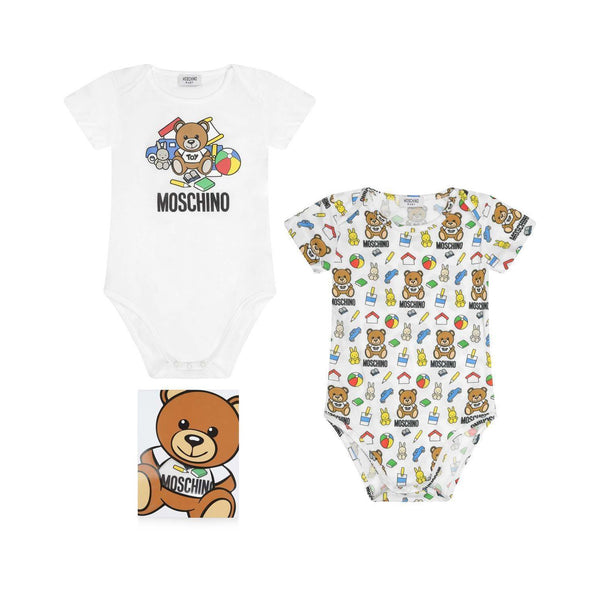 275295c98c0f6 Moschino Baby Bodysuit Gift Set With Toy Bear Graphic