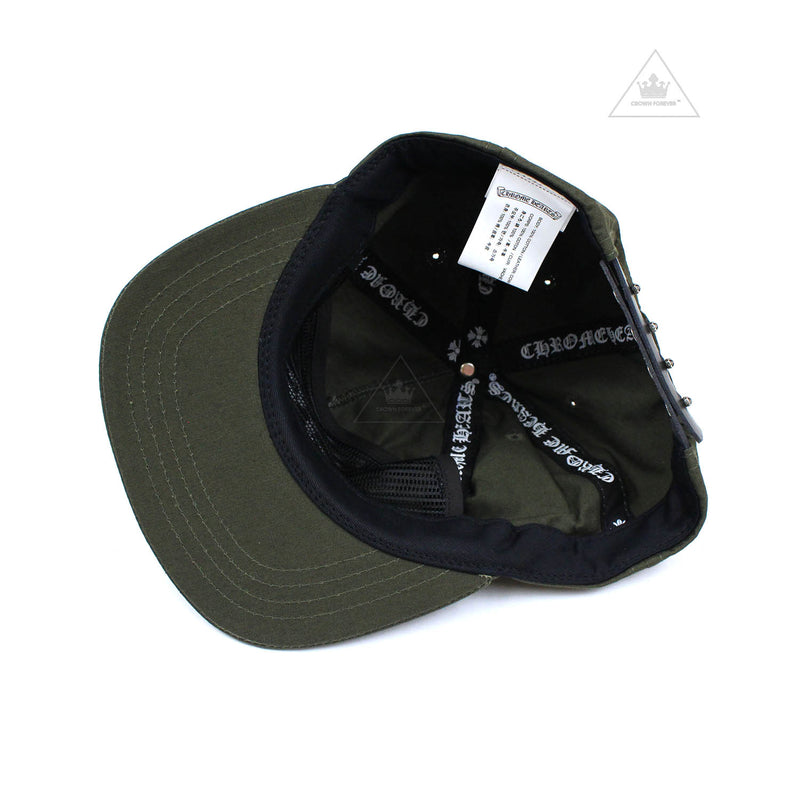 Chrome Hearts 5 Panel Dagger Hat in Fabric in Army Green