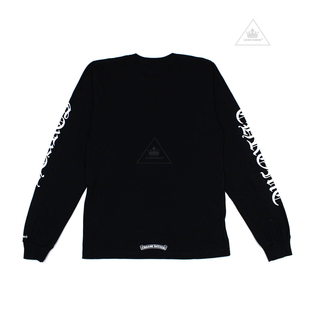 Chrome Hearts Neck Script Letters Long Sleeve Tee Black