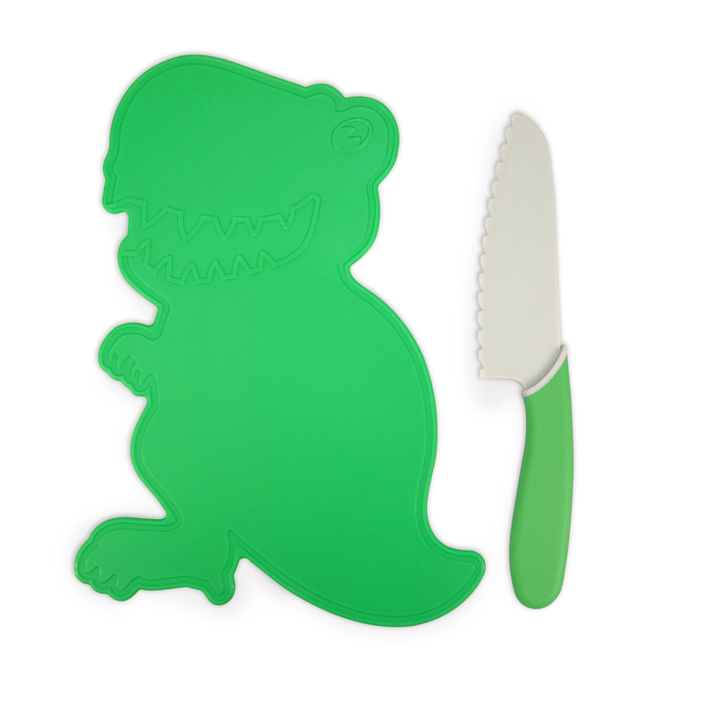 Handstand Kitchen Dinosaur Cutting Board & Kid Safe Knife Set Green