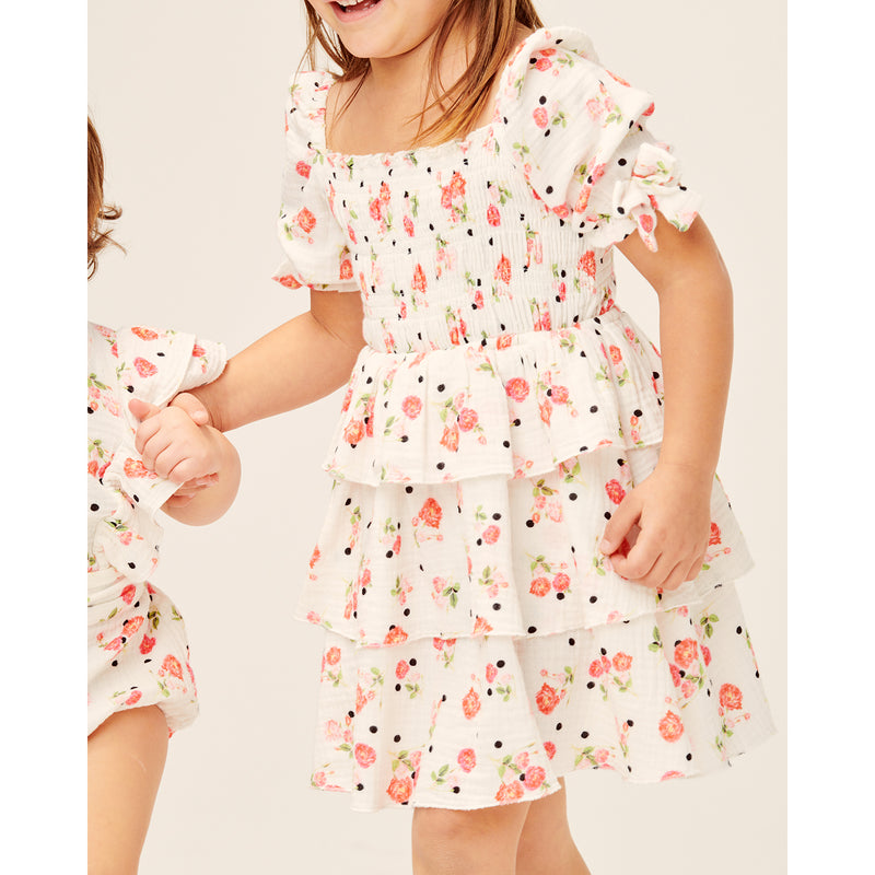 Lil Lemons Paloma Toddler Dress White