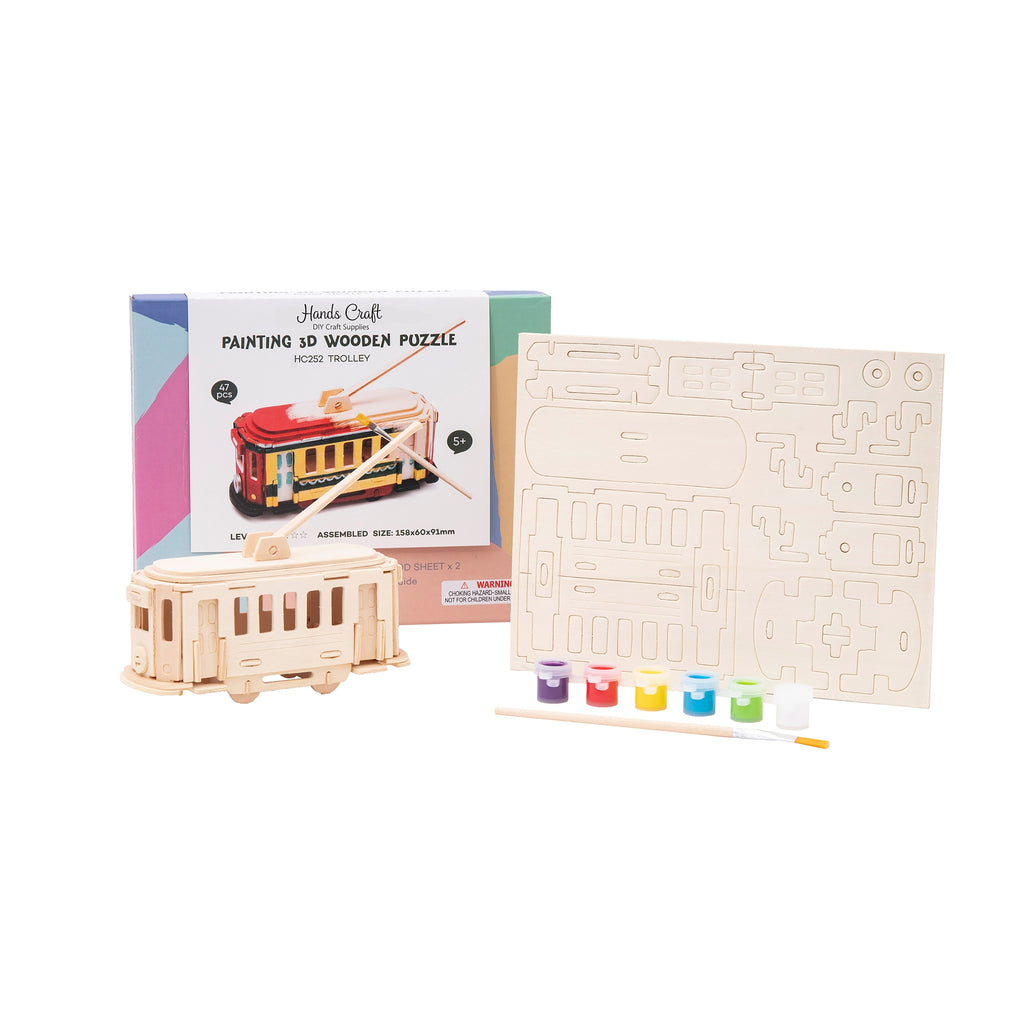 Hands Craft 3D Wooden Puzzle with Paint Kit: Trolley-HC252