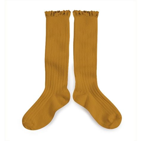 Collegien ruffle trim knee socks in Moutarde De Dijon