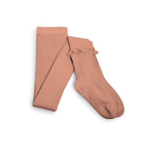 Collegien Chloe Frill Ribbed Tights in  Bois de Rose