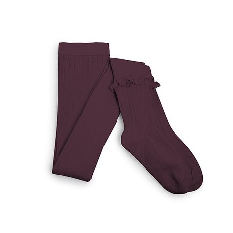 Collegien Chloe Frill Ribbed Tights in Aubergine
