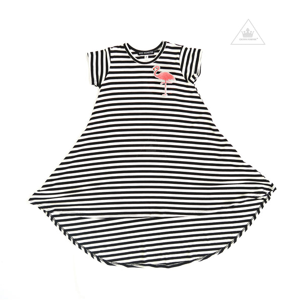 WEE MONSTER Black + White Stripe S/S Dress(Flamingo Patch)