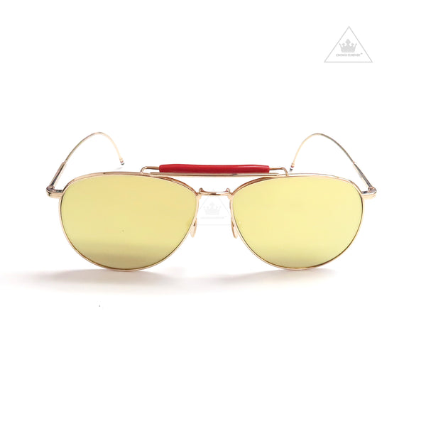Thom Browne Gold Aviator Sunglasses