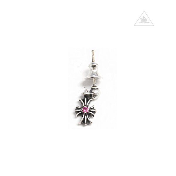 Chrome Hearts Tiny E 1 Drop Earring Pink Sapphire
