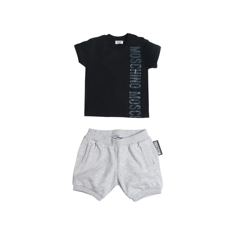 Moschino Baby Boy T Shirt And Shorts Set With Side Graphic