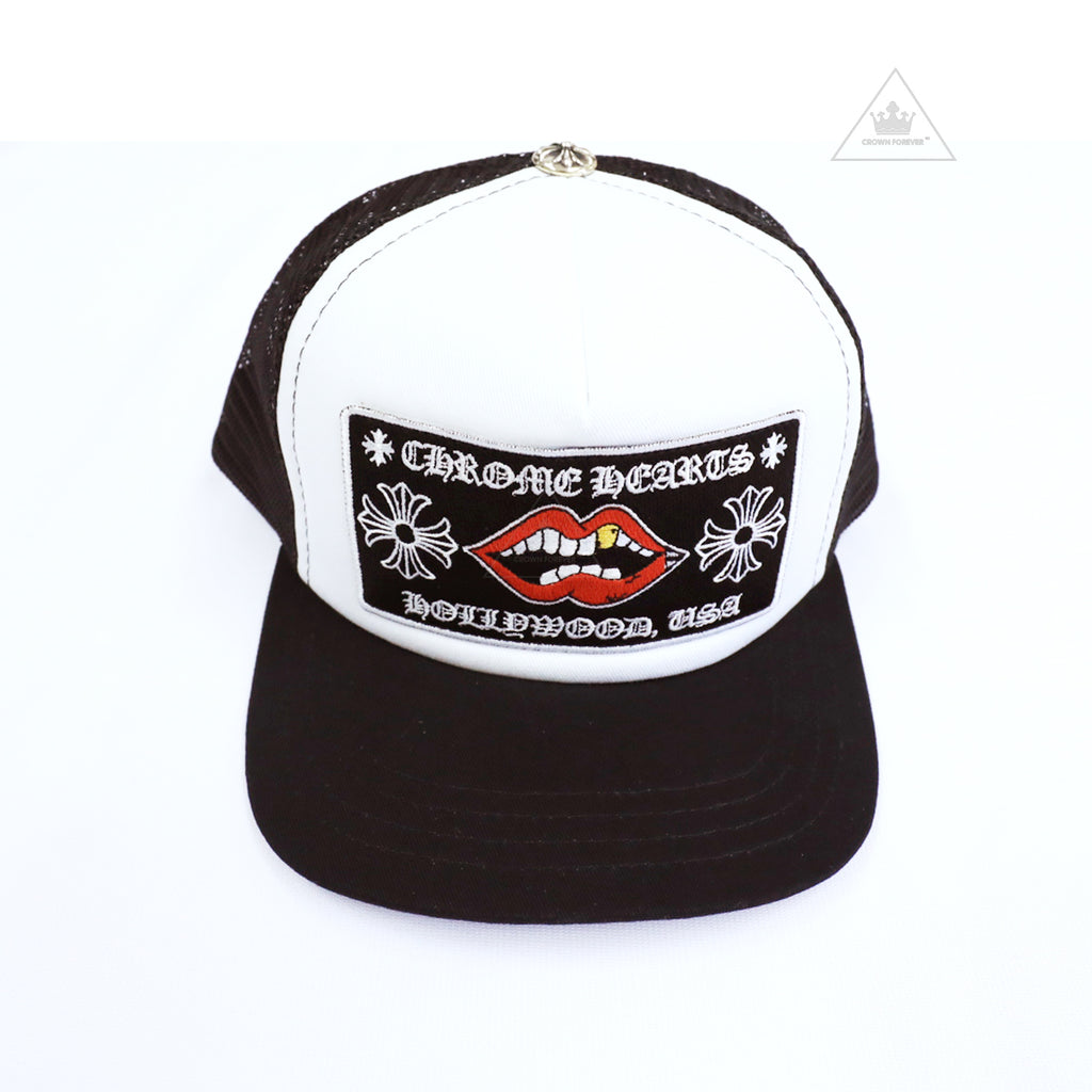 Chrome Hearts Hollywood Chomper Trucker Cap in White