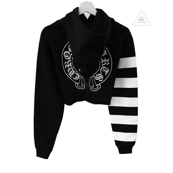 Chrome Hearts Bella Hadid White Candy Stripes Short Hoodie