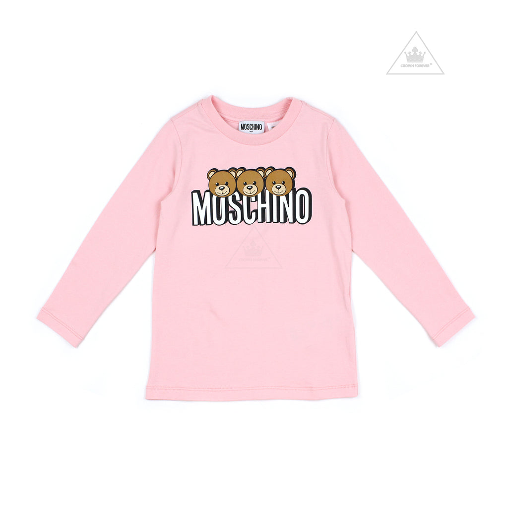 Moschino Kids Girls Long Sleeve T With Logo And Bear Graphics Pink