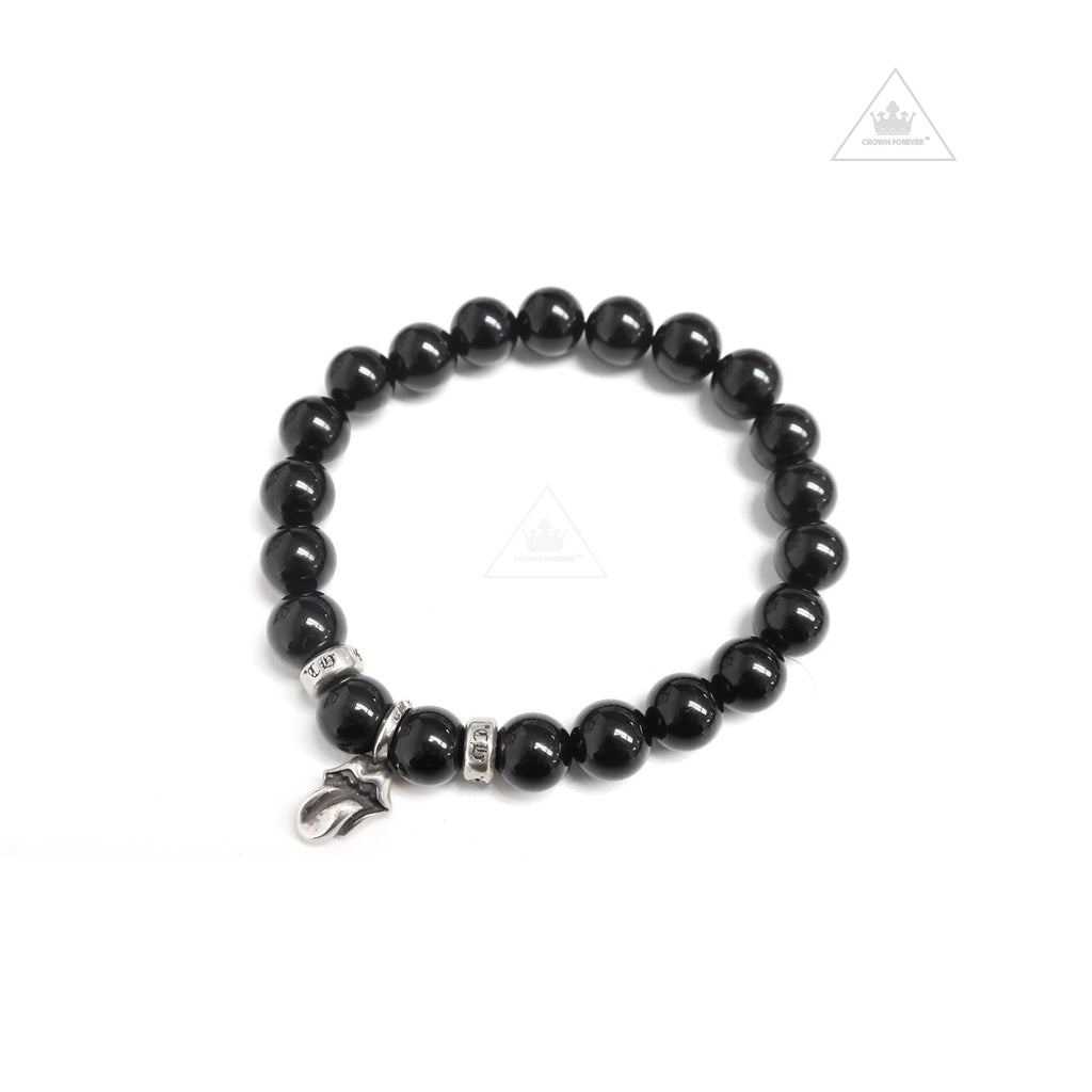 Chrome Hearts 8MM Lip and Tongue 8mm Rolling Stones Lip and Tongue Collaboration Bead Bracelet