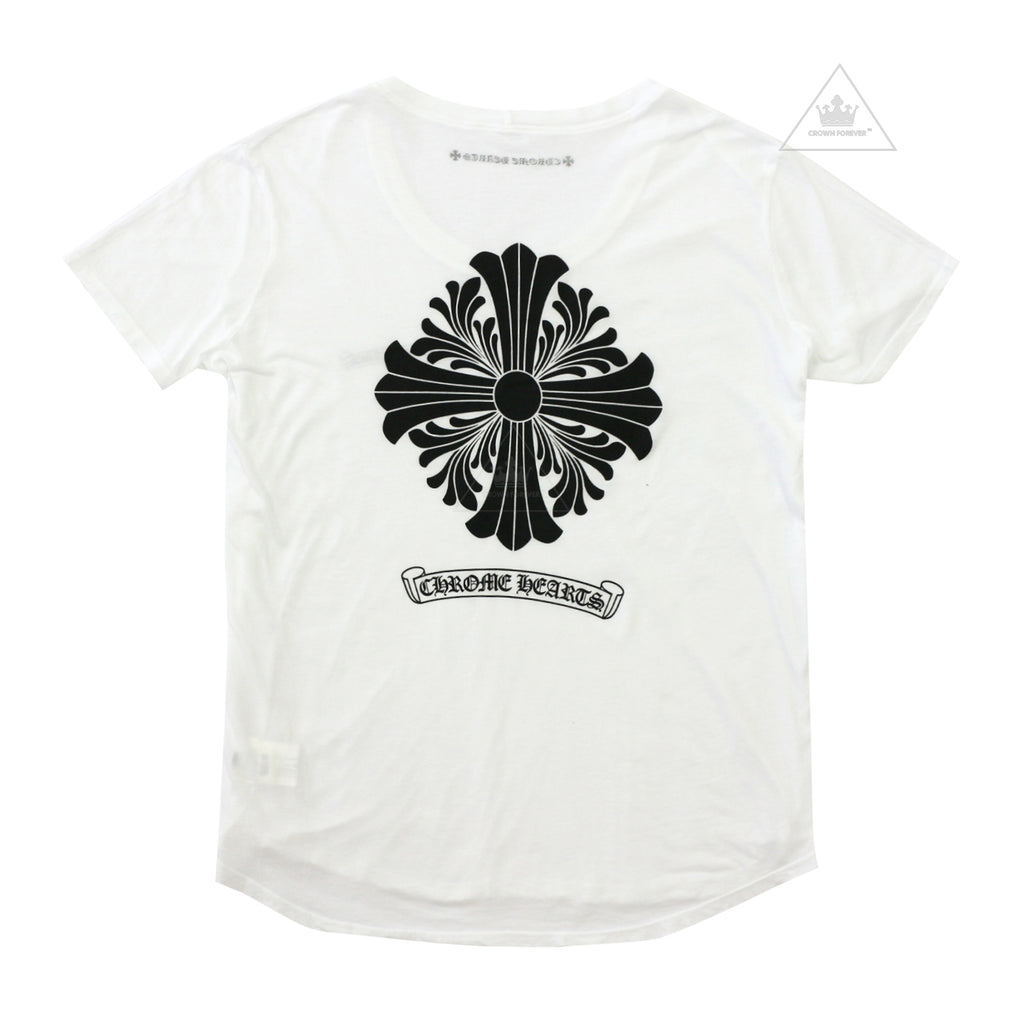 Chrome Hearts Women's Floral Cross White Tee