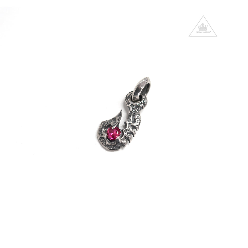 Bill Wall Leather C368 Graffiti Fish Hook Charm Pink Stone