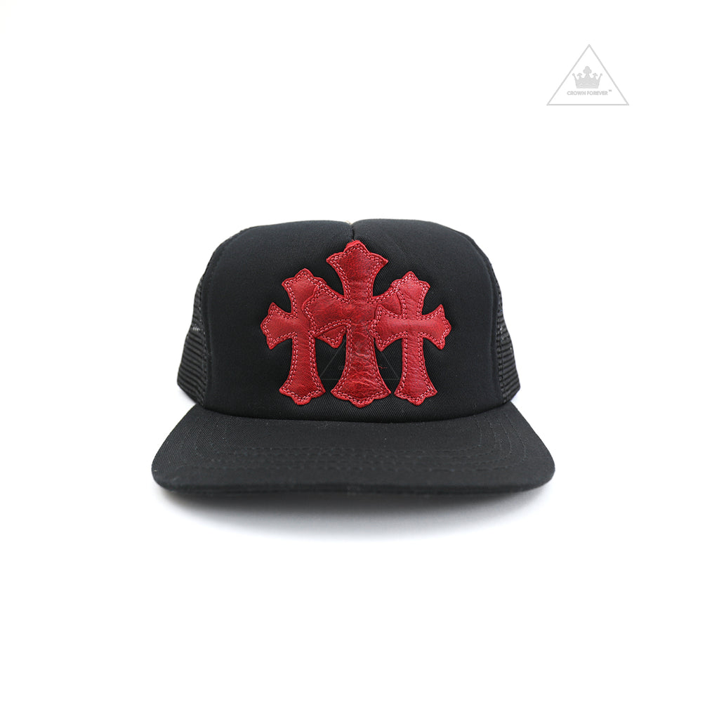 Chrome Hearts Red Cemetery Cross Lamb Skin Patch Trucker Cap