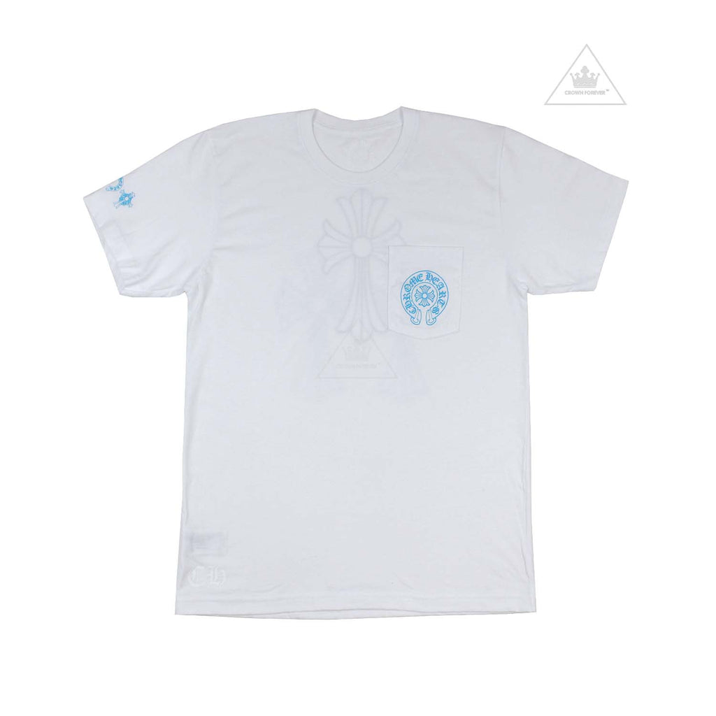 Chrome Hearts Baby Blue Cemetery Cross Short Sleeve T Shirt in White