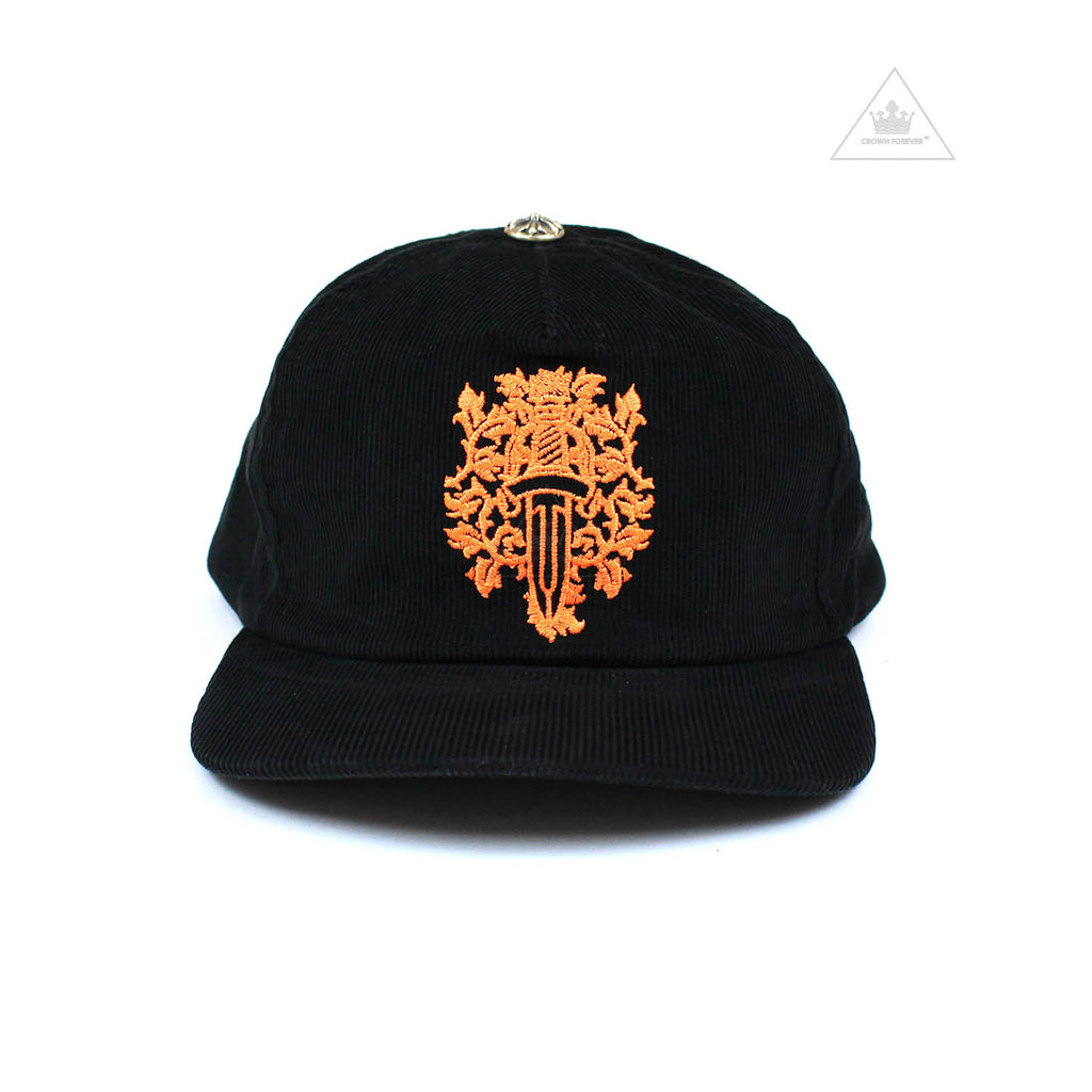 Chrome Hearts 5 Panel Orange Dagger Corduroy Cap.