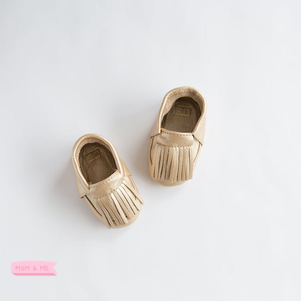 Ili and Charlie Fringe Leather Unisex Moccasin Rich Gold