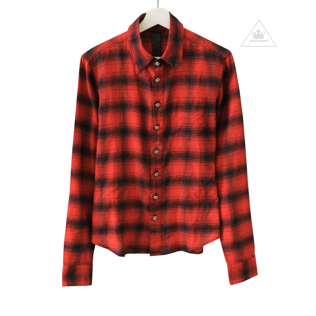 Chrome Hearts Leather Patch Flannel Long Sleeve